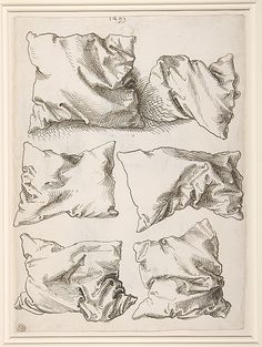 DRAWING artist: Albrecht Dürer, six pillows. I really like the simplicity of these drawings and the detail of the different positions. Albrecht Durer, Drawing Sketches, Art Drawings, Sketching, Contour Drawings, Pen Sketch, Horse Drawings, Arte Sketchbook, Art Graphique
