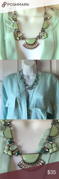 Beautiful Lia Sophia mint green/turquoise necklace Worn only a few times! This necklace would be a great addition to any closet! Comes from a smoke free home. Lia Sophia Jewelry Necklaces