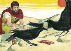 Elijah: God Vs. Baal Bible Crafts, Bible Art, Elijah And The Widow, 1 Kings 17, Raven Images, The Last Lesson, Bible Verses Quotes Inspirational, Bible Illustrations, Raven Art