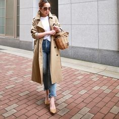30 hottest winter outfits cold ideas to wear right now Mode Outfits, Casual Outfits, Fashion Outfits, Womens Fashion, Trench Coat Outfit, Denim Outfit, Ootd, Everyday Fashion, Korean Fashion