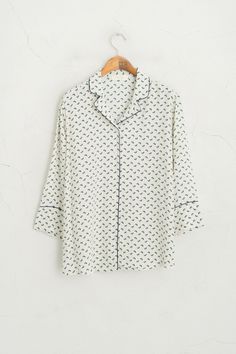 Little Flower Pyjama Style Shirt, Beige