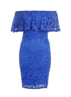Dorothy Perkins Womens *Quiz Blue Lace Bardot Bodycon Dress- Lace bardot bodycon dress with frill feature. Wearing length is approximately 85cm. 95% Polyester, 5% Elastane. Cool hand wash. Do not bleach, dry clean or tumble dry. http://www.MightGet.com/january-2017-13/dorothy-perkins-womens-quiz-blue-lace-bardot-bodycon-dress-.asp