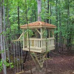 Our first treehouse!   Complete with cargo net, escape hatch and 125' zipline! | Yelp