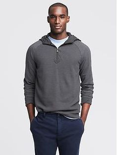 Waffle-Knit Hooded Half-Zip Pullover