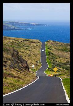 One-lane road overlooking ocean. Maui, Hawaii, USA (color)