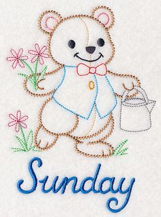 Teddy Bear Plants Flowers on Sunday (Vintage) design (M2641) from www.Emblibrary.com