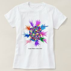 Shop Candy Waters Autism Artist T-Shirt created by Personalize it with photos & text or purchase as is! Scarf Shirt, Shirt Skirt, Sweater Shirt, T Shirt, Dress Shorts Outfit, Dress Outfits, Sun Painting, Short Long Dresses, Candy Theme