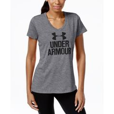 Under Armour Ua Tech Logo V-Neck T-Shirt ($28) ❤ liked on Polyvore featuring tops, t-shirts, graphite, vneck t shirts, logo t shirts, twisted tees, under armour and logo tee