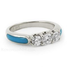 """Moonlit Lake - Trinity"" Diamond Turquoise Engagement Ring"