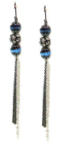 Second Glance Designs Black Rhodium Plated Triple Ball Dangle Earrings with Rhinestones and Dangling Chains Second Glance Designs. $29.95. Exclusively from Second Glance Designs. Delicate silver and black rhodium plated chains hang from the bottom. Earrings drape 4 inches in length from a lever back earring. Two blue and plum-black Czech beads frame a black crystal ball. Gorgeous black rhodium and sterling silver plated chain dangle earrings with Czech glass beads and cryst...