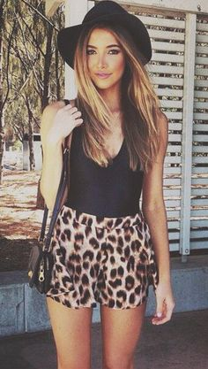 Love this casual look! Black tank, leopard shorts and black hat Women's street style fashion clothing for spring summer