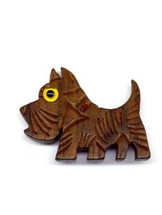 VTG HANDCRAFTED AMERICANA WOOD CARVED SCOTTY SCOTTISH TERRIER DOG BROOCH PIN