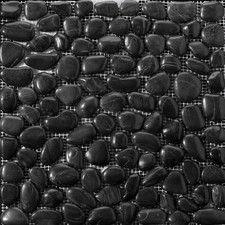 Natural Stone Random Sized Pebble Tile in Marble Black