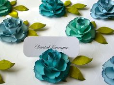 Place Card Holders - Handmade Paper Flower by DragonflyExpression