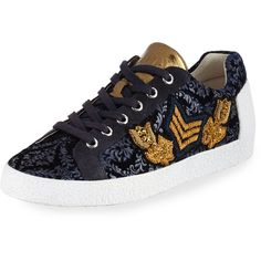 Ash Nak Arms Embroidered Sneaker (235 AUD) ❤ liked on Polyvore featuring shoes, sneakers, midnight, lace up sneakers, flat platform shoes, metallic sneakers, round toe lace up flats and velvet platform sneakers