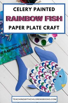 Here's a fun and easy Rainbow Fish celery painting craft for kids. It's the perfect companion to the book, The Rainbow Fish. Kids will love this one! #rainbowfishcraft #rainbowfishcelerypainting #rainbowfishpaperplatecraft #teachwithbooks Rainbow Fish Activities, Rainbow Fish Crafts, Paper Plate Crafts, Paper Plates, Painting Crafts For Kids, Author Studies, Book Study, Book Themes, Children's Books