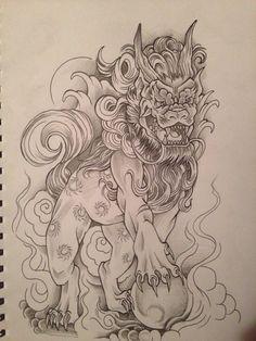 Foo dog tattoo design by relentless-giff
