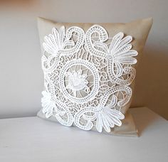 This beautiful handmade pillow cover combines vintage lace with modern, new material. Good for decoration in your any style home or perfect gift for anyone in your life. It is beautiful gift idea for the holidays, birthday, Christmas.  This listing is for a One throw pillow covers.  Materials: strong linen canvas, vintage lace.  *Size: 18  x 18  (46 x 46 cm) *Colors: beige, ivory *Envelope closure *Machine wash in cold water with mild detergent. *Drying Machine is NOT recommended! Air dry…