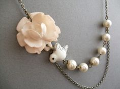Bridal Jewelry,Bridesmaid Jewelry Set,Ivory Flower Necklace,Ivory Pearl Jewelry,Bird Jewelry,Strand Jewelry,Gift(Free matching earrings)