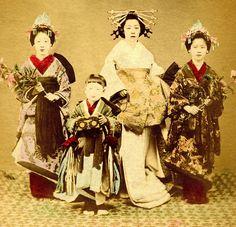A Tayuu with two Shinzo and a Kamuro 1880s