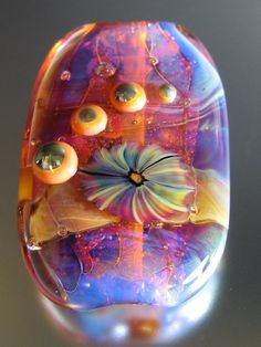 Focal lampworked bead Sunset In The Tropics