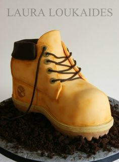 Timberland Boot Cake - by Laura Loukaides @ CakesDecor.com - cake decorating website