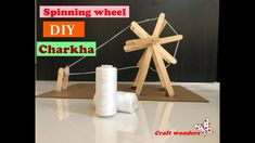 How to make Miniature Charkha using popsicles sticks/ Gandhi Jayanti pro... Craft Stick Crafts, Easy Crafts, Diy Spinning Wheel, School Projects, Diy Projects, Popsicle Sticks, Gandhi, Popsicles, Miniatures