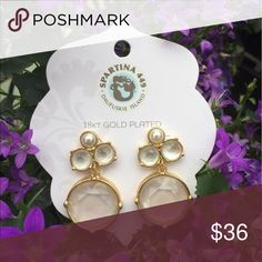 Pearl Gala Drop Earrings 18 kt gold plated earrings designed by Spartina 449. Spartina 449 Jewelry Earrings