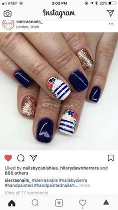 Painted Nail Art, Hand Painted, Nail Patterns, Dark Navy Blue, Pattern Mixing, Mani Pedi, Nail Designs, Nails, Makeup