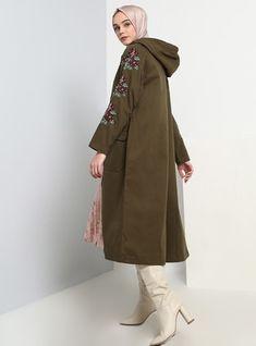Kaz Tüyü Manto - Haki Duster Coat, Raincoat, Satin, Jackets, Fashion, Rain Jacket, Moda, Fasion