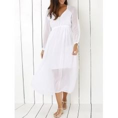 SHARE & Get it FREE | Stylish V Neck Long Sleeve White Chiffon Women's Maxi DressFor Fashion Lovers only:80,000+ Items • FREE SHIPPING Join Twinkledeals: Get YOUR $50 NOW!