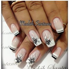 In order to make to make your nails summer ready, you need to push your creativity. The presence of nail art decals, dotting tools, acrylic nails, stencils and different kinds of paints make it very easy for you to achieve the desired results. Fabulous Nails, Gorgeous Nails, Pretty Nails, White Nail Art, White Nails, Black And White Nail Designs, French Nail Designs, Nail Art Designs, Nails Design
