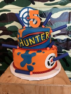 Amazing Nerf War cake for my son Hunter's 5th birthday party!! Made by Cravings Cupcakery in Woodbridge, Va.