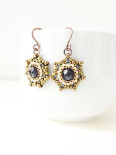beadwork earrings with seed beads