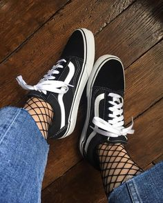 Fishnet tights with jeans and Vans | Honey of California ZINE