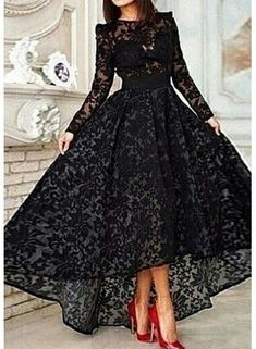 USD$184.37 - Elegant Jewel Long Sleeve Black Prom Dress With Lace - www.27dress.com