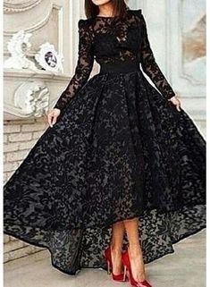 USD$184.37 - Elegant Jewel Long Sleeve Black Prom Dress With Lace - www.27dress.com