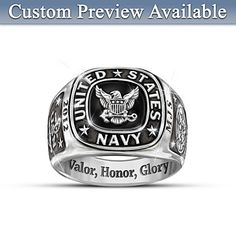Shop great selection of personalized men's rings at Bradford Exchange. Get any rings personalized for FREE. Unique Mens Rings, Mens Silver Rings, Rings For Men, Us Navy Rings, Navy Emblem, Navy Tattoos, Air Force, Gifts For Sailors, Navy Man