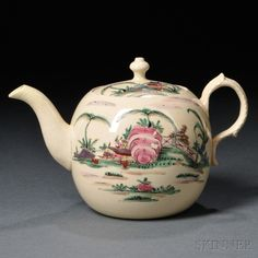 Staffordshire Cream-colored Earthenware Teapot and Cover, England, c. 1765, globular with molded foliate handle, polychrome enamel decorated landscapes with houses and gardens, lg. 7 1/2, ht. 4 3/4