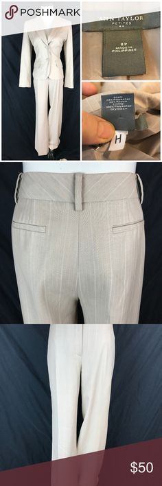 Ann Taylor Tan White Pinstripe Signature Pant Suit Measurements taken laying flat      Jacket   Bust- 19  Waist- 16  Sleeve- 23  Length- 23     Pants   Waist- 16  Hip- 20  Rise- 10  Inseam- 30  Thigh- 10  Leg Opening- 10     Item # 11-12 10.2 Ann Taylor Pants