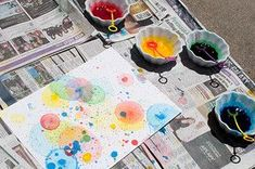 Popped Bubble Art: Ive done this activity with my kids a few times now and it never fails to fascinate them - and me! Simply color bubble mix with food coloring and blow bubbles onto paper - as the bubbles land and pop, they create beautiful works of art. It goes without saying that this project is best done outdoors. A great one for those lazy summer afternoons.