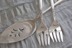 Mr and Mrs forks vintage set ...Floral Queen hand by LoreleiVella, $28.00 new vintage!