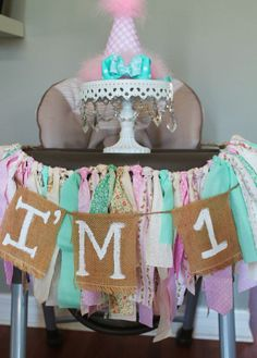 Vintage Shabby Chic First Birthday Fabric and Burlap High Chair Banner