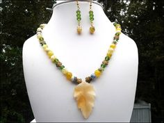Yellow Jade Carved Leaf, Agate, Green Sea Glass Necklace Earring Set | specialtivity - Jewelry on ArtFire