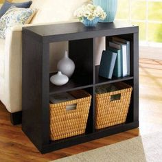 Better Homes and Gardens Square 4 Cube Storage Organizer, Multiple Colors, Black – Room Decoration Diy Home Decor For Apartments, Apartment Decorating On A Budget, Small Apartments, Small Spaces, My Living Room, Living Room Decor, Living Spaces, Decor Room, Small Living