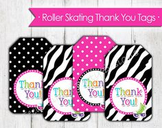 Pink Roller Skate Thank You Tags- Instant Download