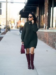9. Knitted Dress With Boots 2017 Street Style