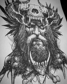 "25.7k Likes, 295 Comments - Rob Borbas (@grindesign_tattoo) on Instagram: ""Father Odin. Illustration in progress."""