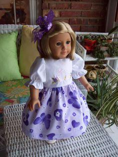 American Girl doll  18 inch doll dress  Purple by ASewSewShop, $14.99