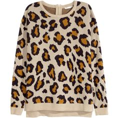 H&M Fine-knit jumper ($23) ❤ liked on Polyvore featuring tops, sweaters, leopard print, leopard top, zip sweater, leopard print jumper, long sleeve sweaters and h&m